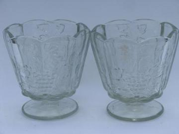 paneled grape pattern vintage pair clear glass flower bowls or vases
