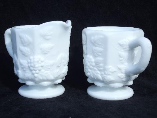 paneled grape vintage Westmoreland milk glass cream pitcher and sugar