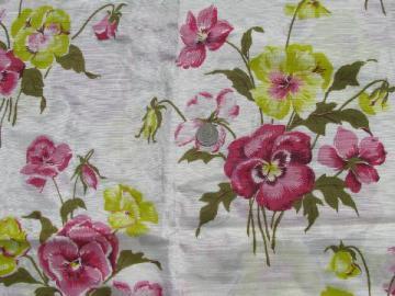 pansies floral print vintage taffeta fabric, 50s rayon or acetate?
