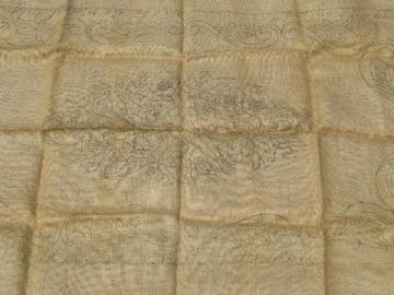 pansy flowers vintage Pearl McGown hessian burlap hooked rug canvas