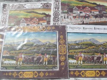 paper placemats for Oktoberfest, vintage Swiss alpine cow herd scenes