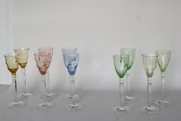 pastel colored glass liqueur glasses, delicate little wine goblets hand blown glass Italy