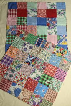 patchwork pieced quilt block cushion covers, vintage cotton print pillow cases