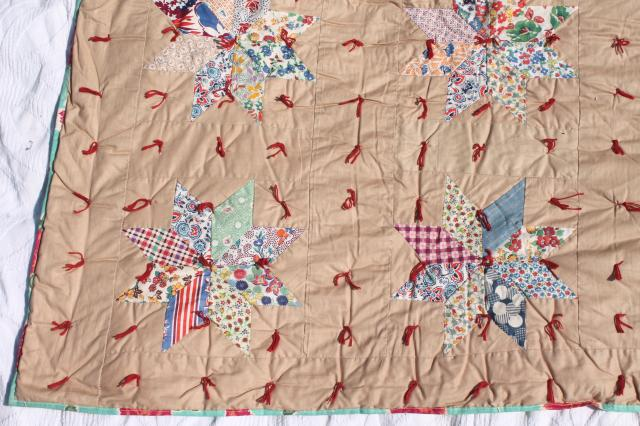 patchwork stars vintage tied quilt comforter w/ red & turquoise flowered print backing fabric