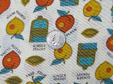 peach of a fruit print 50s-60s vintage cotton fabric, peachy keen!
