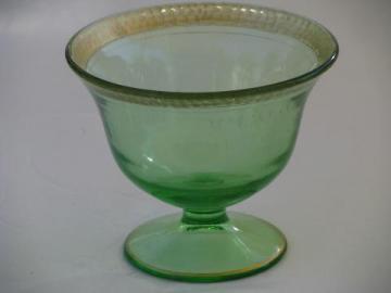 pebbled rim gold pebble vintage green depression glass footed bowl