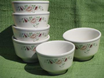 peony pattern rice/soup/noodle bowls, vintage Homer Laughlin china