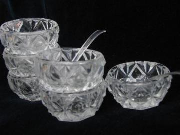 perfect set of 6 vintage glass salt dip dishes, individual open salts
