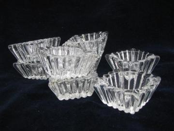 perfect set of 8 vintage glass salt dip dishes, individual open salts