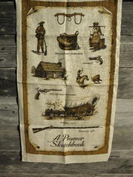 perfect vintage linen kitchen towel, signed Pioneer theme print