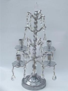 pewter silver metal candelabra, branched candle holder tree w/ prisms