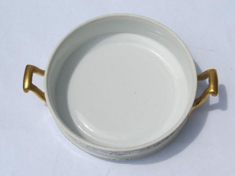 Pheasants Border Antique Limoges Tureen Handled Dish
