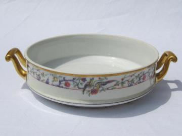 pheasants border, antique Limoges tureen, handled dish without cover