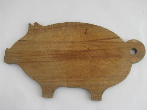 pig shape vintage wood kitchen cutting board, bread or cheese board