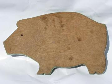 pig shape vintage wood kitchen cutting board or bread board
