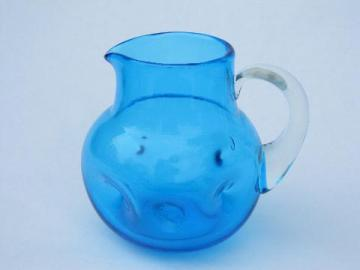 pinch dimpled hand-blown glass pitcher, vintage Mexican art glass?