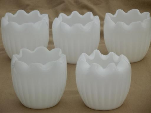 pinch shape blown glass bowls, vintage milk glass grouping for flowers