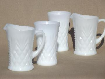 pineapple pattern milk glass pitchers &       tumblers, vintage depression glass