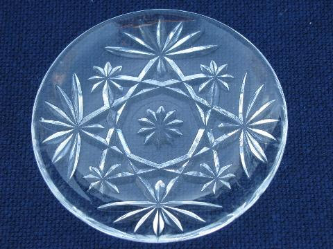 pineapple pattern pres-cut pattern glass sherbets, cups and tiny plates