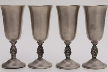 pineapple pattern vintage pewter wine glasses set, set of small cordial goblet wines