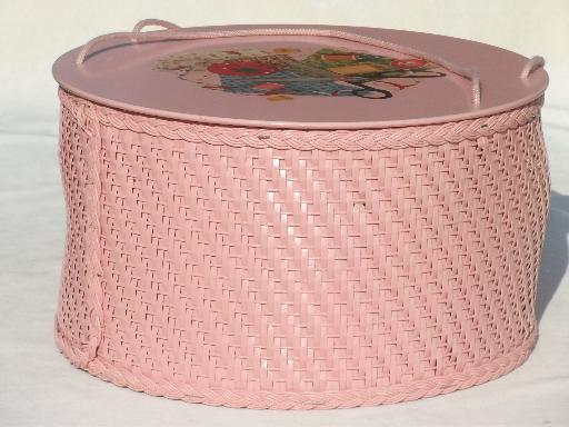 pink Princess sewing basket, vintage round wicker sewing box w/ decals