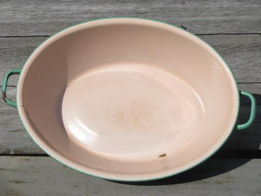 Pink And Green Vintage Enamelware Big Old Primitive Wash