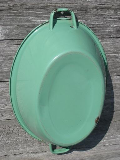 pink and green vintage enamelware, big old primitive wash tub, oval dish pan