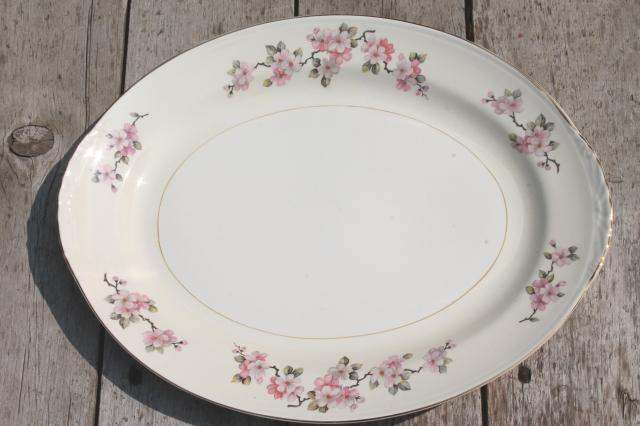 pink apple blossom vintage Homer Laughlin china tray or turkey platter