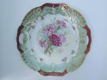 pink carnations gold and luster antique china plate w/ handles, Germany?