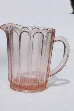 pink depression glass milk pitcher, 1930s vintage Hazel Atlas ribbon panel pattern