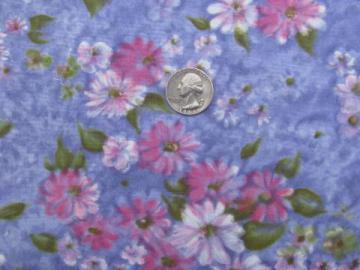pink floral watercolor print on lavender, 50s vintage cotton fabric