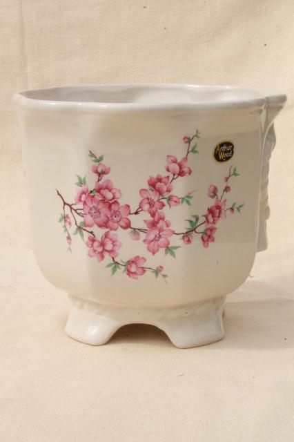 pink flowering cherry or plum blossom cachepot, Arthur Wood English ironstone china planter