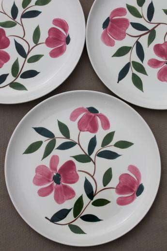 & pink flowers Stetson Rio vintage hand-painted pottery dinner plates