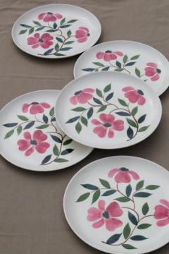 pink flowers Stetson Rio vintage hand-painted pottery dinner plates