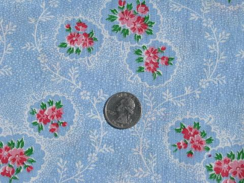 pink flowers on sky blue, vintage 36'' wide cotton print fabric