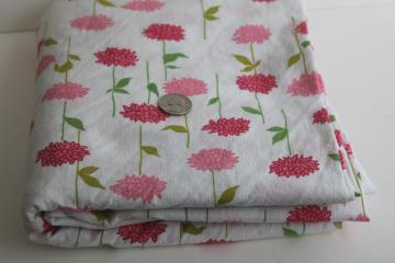 pink flowers print vintage fabric, lightweight soft crinkle textured cotton