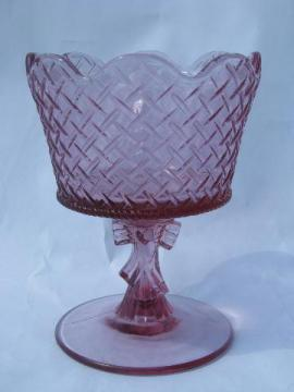 pink glass heart & ribbon bow pattern basket compote, marked Fenton