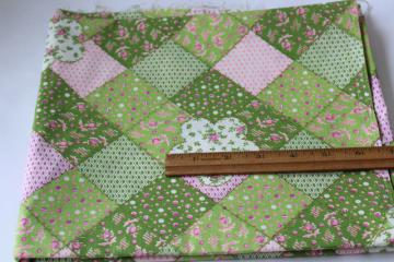 100/% cotton fabric green and pink leaves design quilt fabric