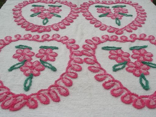pink hearts vintage cotton chenille bedspread, chocolate box pretty!