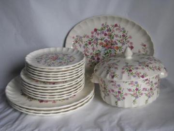 pink & lavender floral chintz pattern, vintage W S George Fiesta pattern china plates