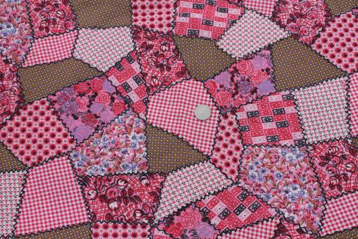 pink patchwork print vintage cotton quilting fabric, cheater quilt ... : cotton for quilting - Adamdwight.com
