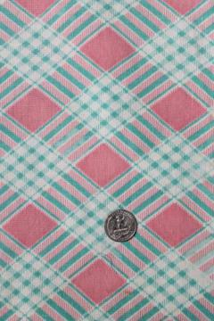 pink plaid print cotton feed sack, authentic vintage fabric for quilting etc.