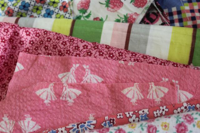 pink prints 30s 40s 50s vintage cotton scraps bundle for quilting sewing craft projects