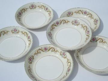 pink rose border Pareek china soup bowls, antique Johnson Bros - England