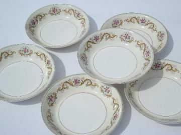 pink rose border Pareek china soup bowls, antique Johnson Bros - England