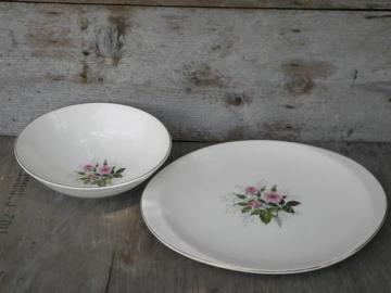 pink roses & baby's breath, 40s vintage Canonsburg china serving pcs