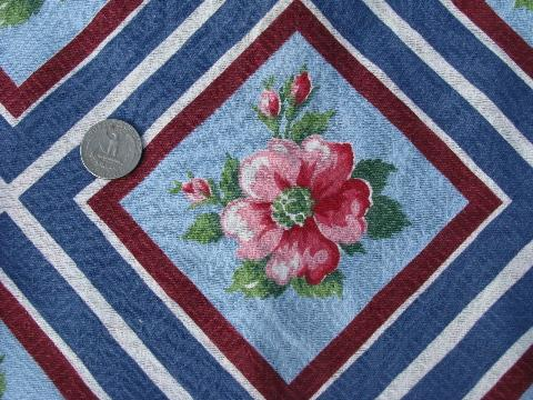 pink roses on blue print, vintage 1940s - 50s printed cotton barkcloth fabric, 11 yards