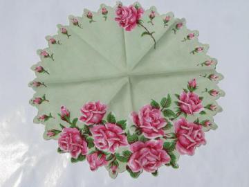 pink roses on jadite green, large vintage hanky, round handkerchief