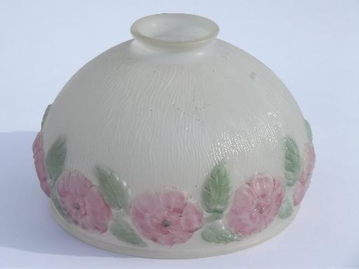 Pink roses puffy glass lamp shade antique vintage replacement pink roses puffy glass lamp shade antique vintage replacement lampshade mozeypictures Image collections