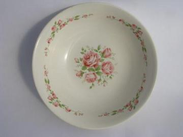 pink roses stencil pattern serving bowl, 1940s - 50s vintage USA pottery